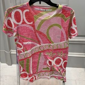 BEFORE & AGAIN PINK/GREEN PATTERN S\S T-SHIRT